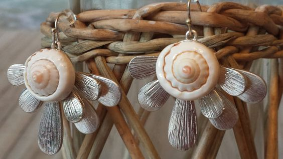 Shell earrings beach wedding earrings beach by Weddingsonthebeach