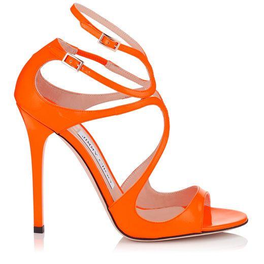 JIMMY CHOO Lance Neon Orange Patent Sandals. #jimmychoo #shoes #s