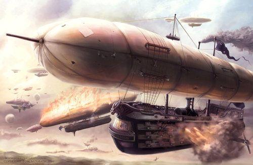 The Airship Battle by ~SpikedMcGrath