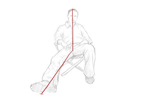 How To Draw A Person Sitting Down Step 1 Line From Head To Feet Person Sitting Person Drawing Drawing People
