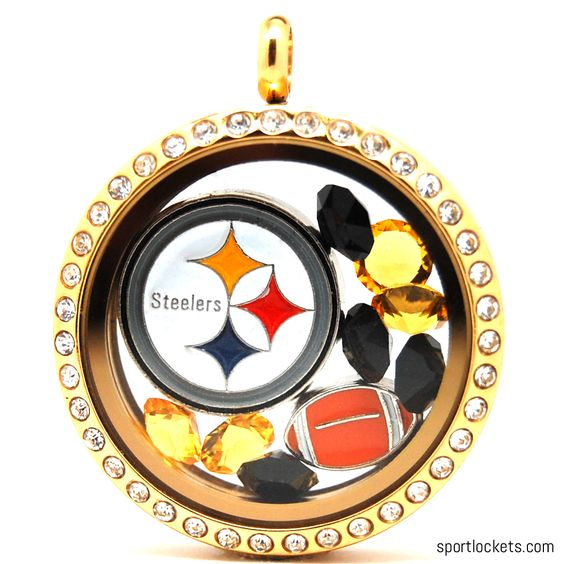Pittsburgh Steelers charm locket necklace from SportLockets.com. Includes NFL licensed charm, football charm and Swarovski crystals in team colors. Available in silver, black or gold with your choice of chain.