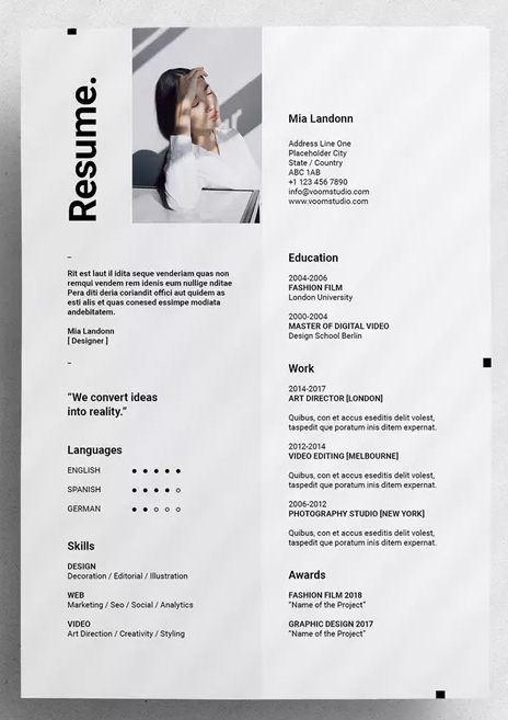 Voom Resume By Moscovita On Envato Elements Graphic Design Resume Indesign Resume Template Resume Design Inspiration