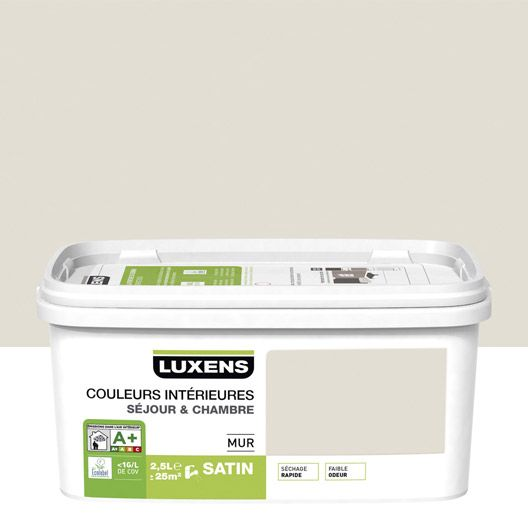 Peinture murale couleurs int rieures luxens blanc lin n 2 for Peinture mur blanc satin