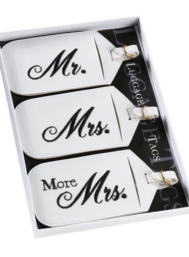 Honeymoon luggage tags.