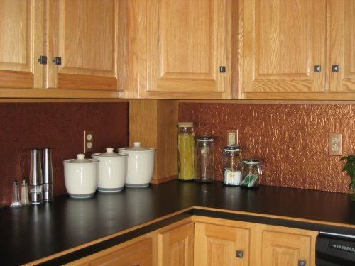 Kitchen backsplash faux antique copper wc 30 - Kitchen wall covering options ...