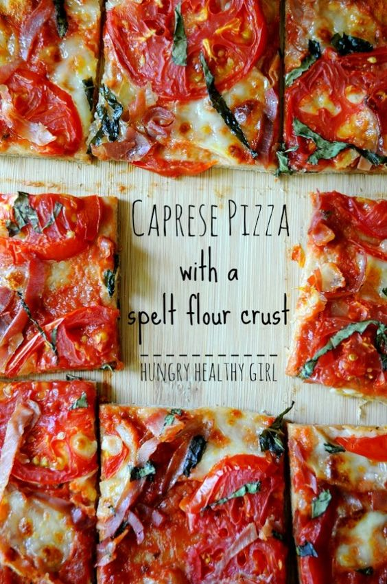 A recipe for summery Caprese Pizza on a heart-healthy spelt flour pizza crust. Delicious and nutritious!
