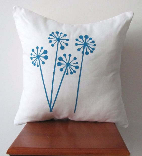 Blue Dandelion Print Pillow Cover Hand Printed by AnyarwotDesigns, $20.00