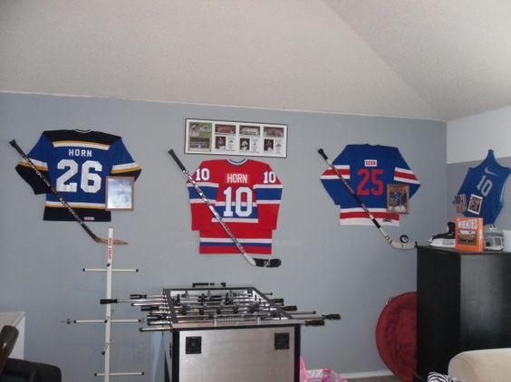 jersey keepsakes room ideas hockey room sticks ideas boys room design