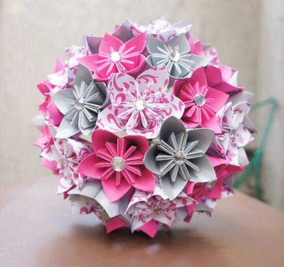 bouquet origami bouquet papier pinterest papier origami mariage et fleur. Black Bedroom Furniture Sets. Home Design Ideas