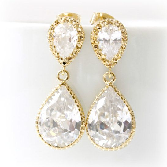 Gold Bridal Earrings // Rhinestone // Goldfill // Gold Diamond Earrings // Clear CZ Teardrop Bridal Earrings // cubic zirconia