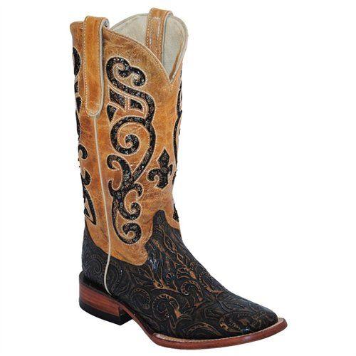Ferrini Western Boots Womens Embossed Sq Toe   81893-15