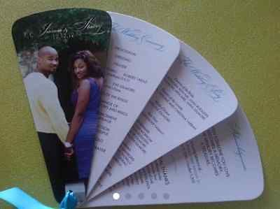 100 Personalised Photo Wedding Programe Fans (4 pages)