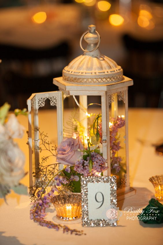 Lantern centerpiece wpinescc gardenwedding table