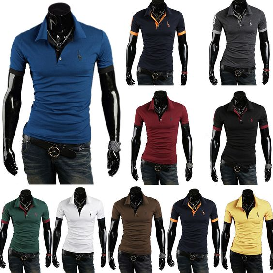New Mens Stylish Slim Fit Casual Short & Long Sleeve POLO Shirt T-shirt Tee…