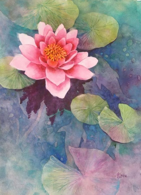 Water Lily Pond Lotus Flower Art Painting Lily Pad Water Pool