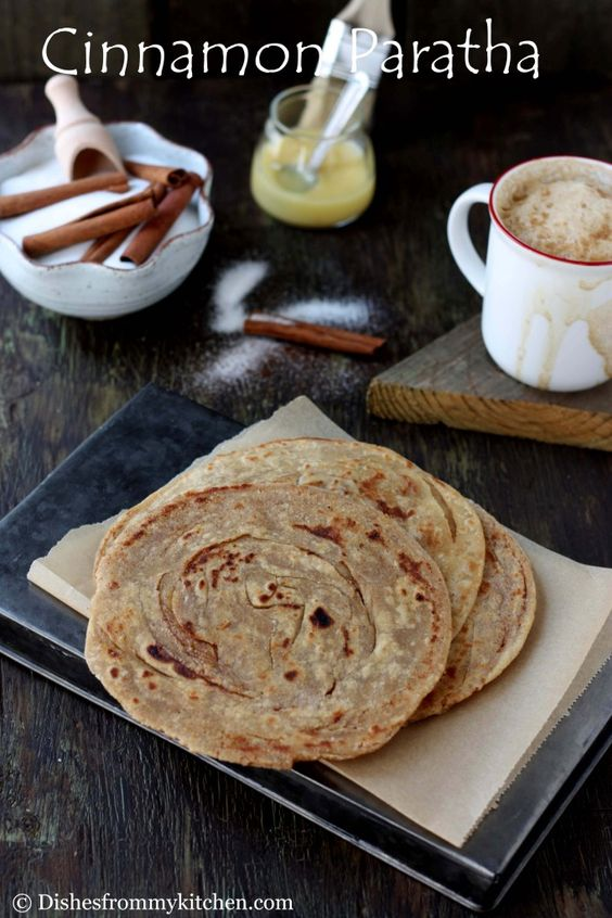 Dishesfrommykitchen: CINNAMON SUGAR PARATHA(LAYERED INDIAN BREAD) !!! FLAKY,TASTY AND HEALTHY !!! - this was my fav snack growing up