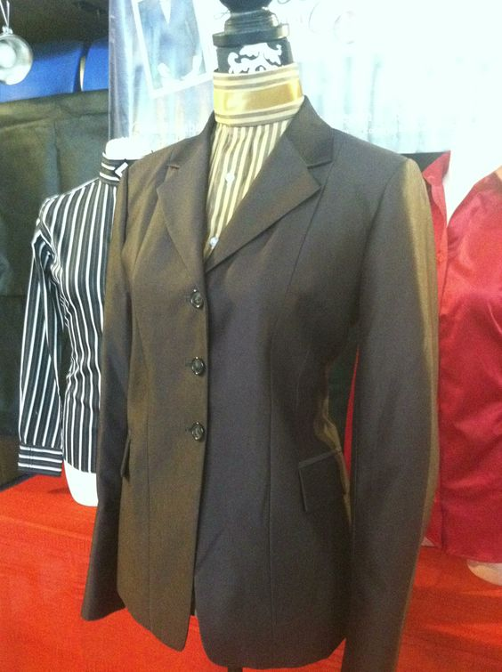 Brown solid shiny hunt coat and gold striped shirt! For when you