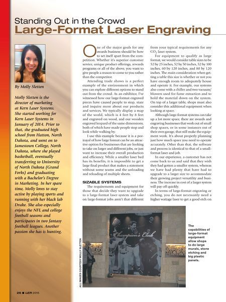 Take a look at the article in the newest A&E Laser Engraving Report-- I highlight the advantages of large format laser engraving.#largeformat #laserengraving #laserengravingreport