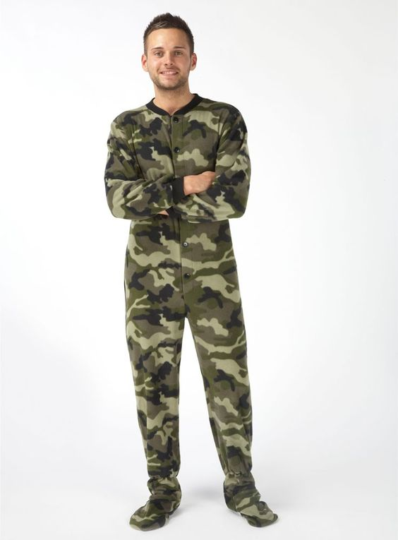 Mens Snuggaroo Camo Onesie Footed PJs | Footed Pajamas ...