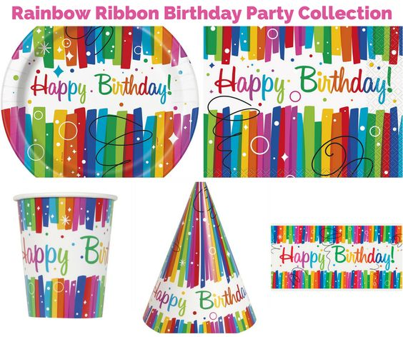 Rainbow Ribbons Birthday Party Banner