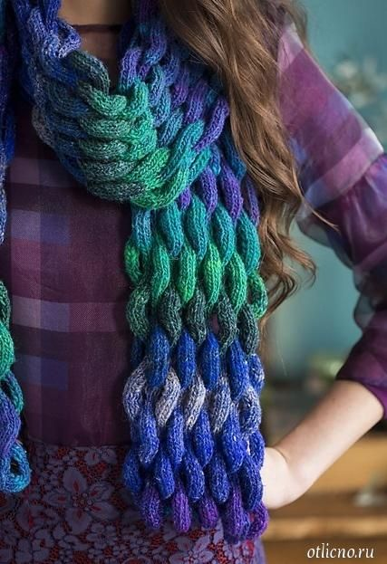 Красивый шарф, вязаные шарфы схемы, вязание, вязание спицами, вязание для женщин, Вязаный красивый шарф фото: