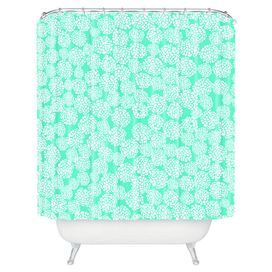 """Bring a chic pop of style to your powder room or master bath with this eye-catching shower curtain, showcasing a geometric motif in blue.   Product: Shower curtainConstruction Material: PolyesterColor: Seafoam blueFeatures:  Buttonhole openingsMade in the USADesigned by Joy Laforme for DENY Designs Dimensions: 69"""" H x 72"""" WCleaning and Care: Machine wash cold. Tumble dry. Use of liner is recommended."""
