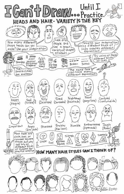 Learn to draw cartoon expressions and features of the face. This is a good lesson for beginners.