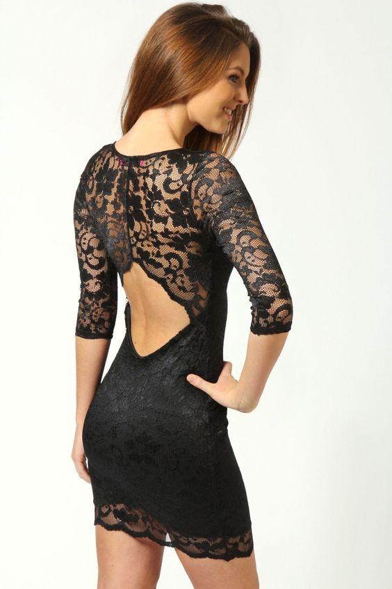Detalhe Nina Vieira Lace traseira aberta BODYCON Dress - Vestidos - Vestidos - Roupas Femininas: