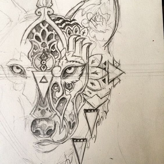 Lineart Wolf Tattoo : Wolf tattoos wölfe and on pinterest