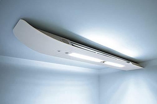 5- Smart_Beam  Otro aire acondicionado de techo, con un diseño estimado y elegante, apenas llama la atención. El diseño creado por Hadi Teherani aúna tecnología y diseño. El diseño no solo es muy estético, además es eficiente energéticamente. Se presentó en la feria BAU en Múnich.  El Smat Beam tiene tres elementos, la cubierta de conexiones de aire y agua, la caja de función y la pieza superior, estos tres elementos se pueden combinar de diferentes formas.