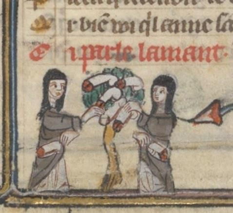Bibliothèque nationale de France, Français 25526 (Roman de la Rose, France 14th century), fol. 160r.  What are these women picking?!