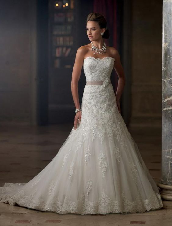 UK SELLER Custom Made Lace A-Line Embroidered Bridal Gown Wedding Dress
