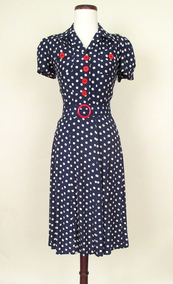 1940s style retro reproduction Swing dress late 30s WWII USO Dance ...