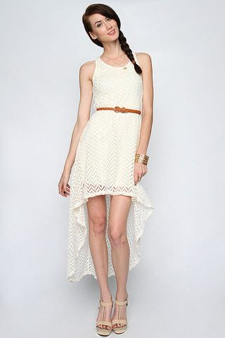 Lace High Low Dress  Belted Ivory Dress  Summer Dresses ...
