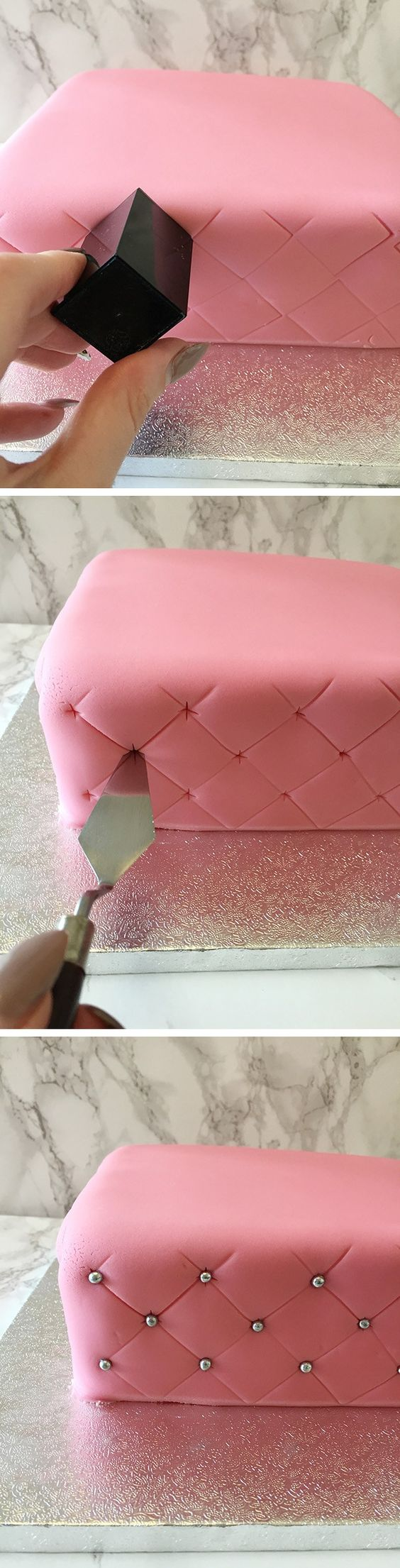 how to create a super simple quilted effect cake. No measuring, no rulers or guides just one simple hack to create a quilted cake. Pop over to the blog for full details, hints & tips