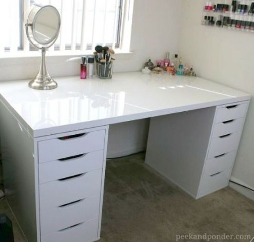 Amazing Desk With Drawers On Both Sides Ikea Makeup Storage Ikea Drawers Diy Makeup Storage