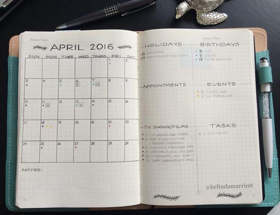 It's no secret how much we love the versatility of the bullet journal. If something doesn't work, change it. It's the customization to our busy life. That's what I had to face when I started my April's monthly spread.  When I looked at my Calendex and Future Planning (yes, I use both), I realized that I wouldn't be able to fit everything into my usual monthly spread. Therefore, I had to create a new one last night.  I decided to combine key elements of Calendex, Future Planning, traditional…