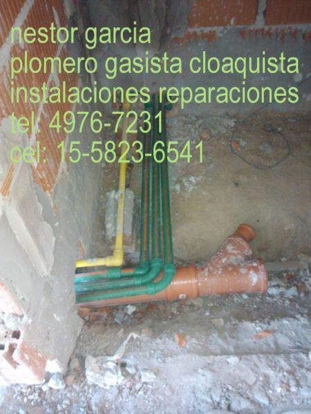 nestor garciaplomero gasista y cloaquistainstalaciones reparaciones y mantenimiento, en generalplanos tramites y habilitacionesbaños cocinas lavaderos,tel: 4976-7231cel: 11-5823-6541cel: 11-5047-5600