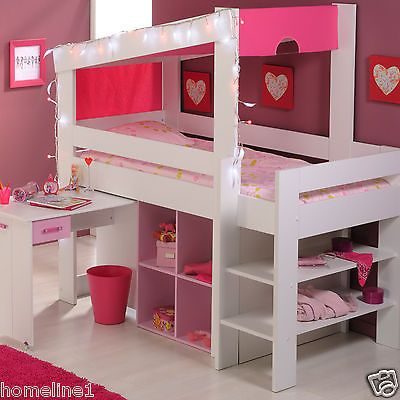 m dchen kinderbett hochbett funktionsbett rosa kinderzimmer bett jugendzimmer ebay. Black Bedroom Furniture Sets. Home Design Ideas