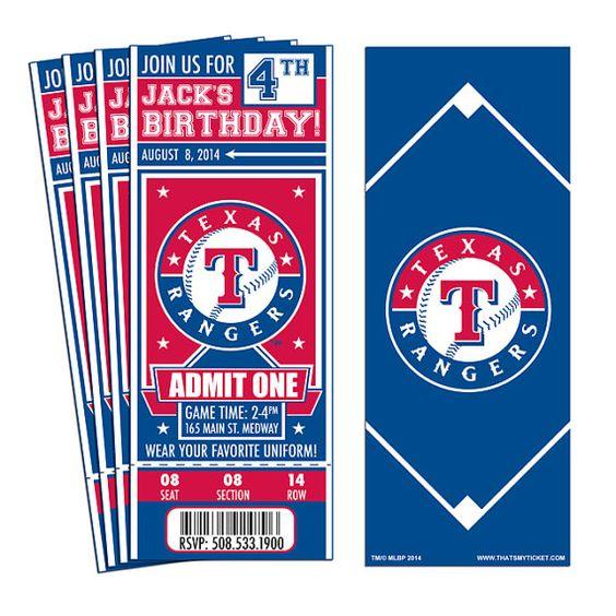 12 Texas Rangers Birthday Party Ticket by ThatsMyTicket on Etsy