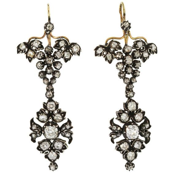 Preowned 19th Century Gold Silver Diamond Pendant-earrings (10 190 AUD) ❤ liked on Polyvore featuring jewelry, earrings, multiple, silver pendant, silver earrings, silver diamond pendant, diamond pendant and gold earrings