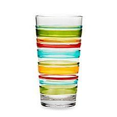 image of Riviera 3D Multi Stripe 21.9-Ounce Acrylic Highball Glass