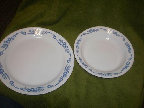 cornflower blue corelle plate and bowl
