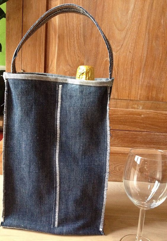 Upcycled denim wine tote Two-bottle wine bag by LittleFieldBirch