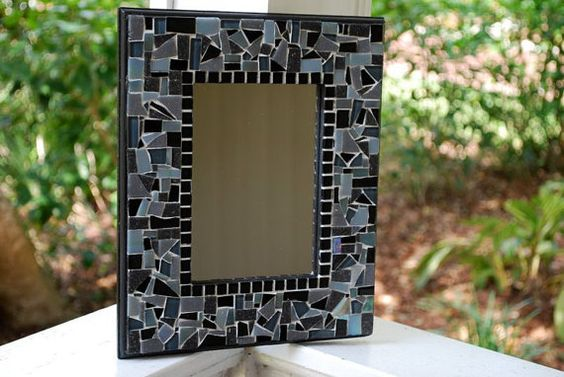 Black Mosaic Mirror by GreenStreetMosaics on Etsy, $37.00