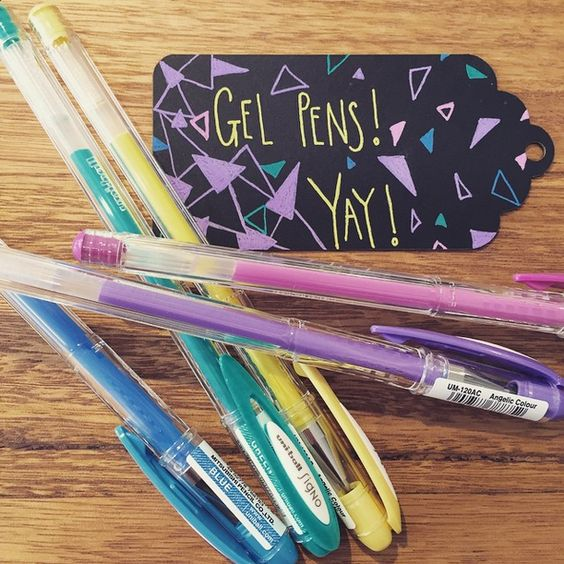 We love blackboard style gift tags and these 'Angelic Colour' gel pens by Uniball are perfect to decorate them! www.thepaperempire.com.au
