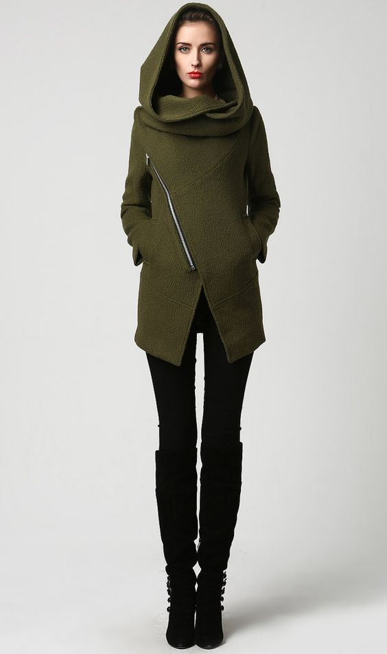 Canada Goose trillium parka outlet discounts - Womens Short Green Wool Coat with Oversized Hood - Asymmetrical ...