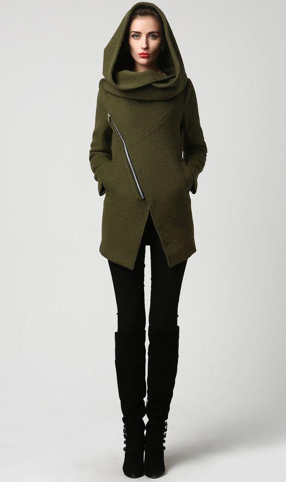 Canada Goose kids sale 2016 - Womens Short Green Wool Coat with Oversized Hood - Asymmetrical ...