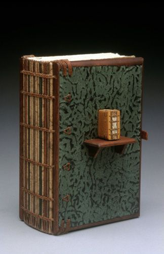 Daniel Essig creates wood-covered art books and book-based sculptures. Using a fourth-century binding known as Ethiopian-style Coptic, he creates mixed-media book structures that incorporate unusual woods, handmade paper, found objects, fossils, and mica