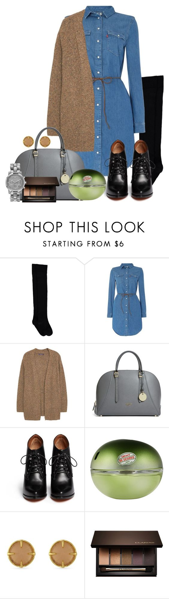 """""""Mini dress denim"""" by kimmmeo ❤ liked on Polyvore featuring Levi's, Violeta by Mango, GUESS, Givenchy, DKNY, Vince Camuto, Clarins, Michael Kors, women's clothing and women"""